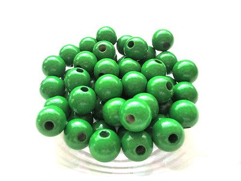 25 Perles en Bois 10mm Vert