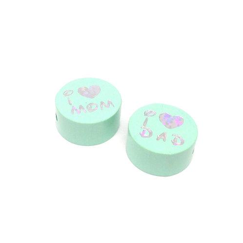 Perle en Bois I Love Mom-Dad Glitter Mint