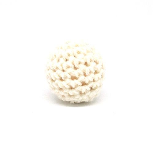 Perle en Bois et Crochet 20mm Ecru