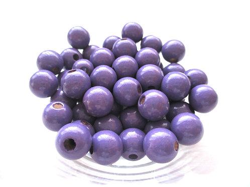 50 Perles en Bois 10mm Violet