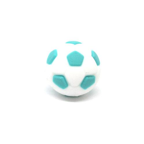 Perle Ballon de Foot Silicone Blanc & Turquoise