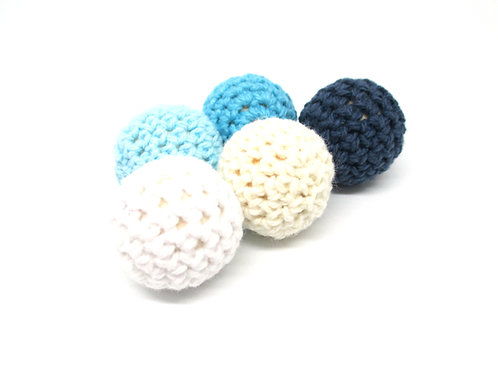 5 Perles en Bois et Crochet 20mm Blanc Ecru Bleu Tendre Turquoise Marine