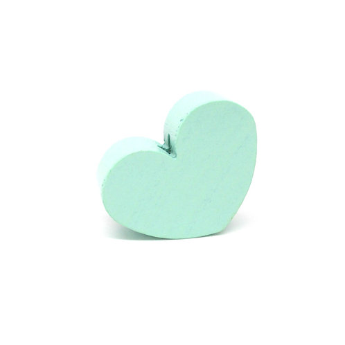 Perle en Bois Grand Coeur Mint