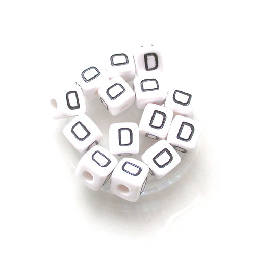 10 Perles Alphabet Acrylique - Lettre D