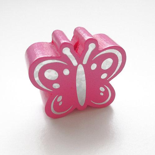 Perle en Bois Papillon Glitter Argent Rose Foncé
