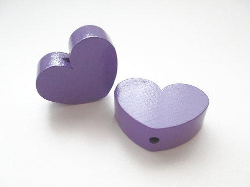 Perle en Bois Grand Coeur Violet