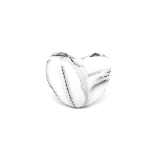 Perle Coeur Silicone Blanc Marbre