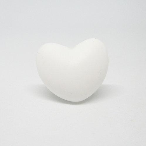Perle Coeur Silicone Blanc