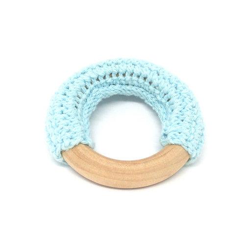 Anneau Crochet et Bois 50mm Bleu Ciel