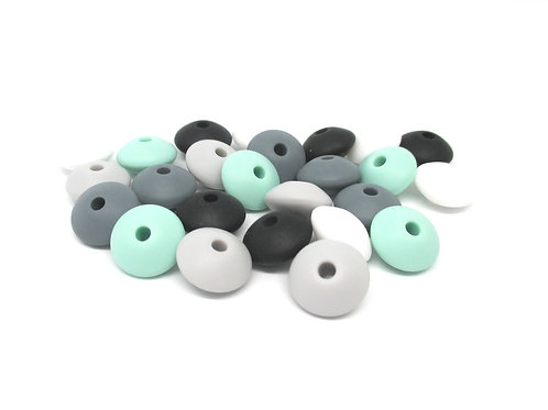 25 Perles Silicone Plates - Rêve Mint