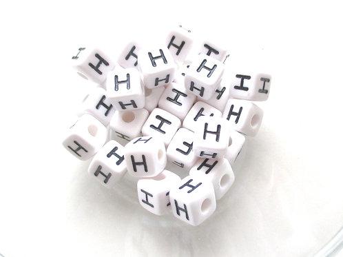 10 Perles Alphabet Acrylique - Lettre H