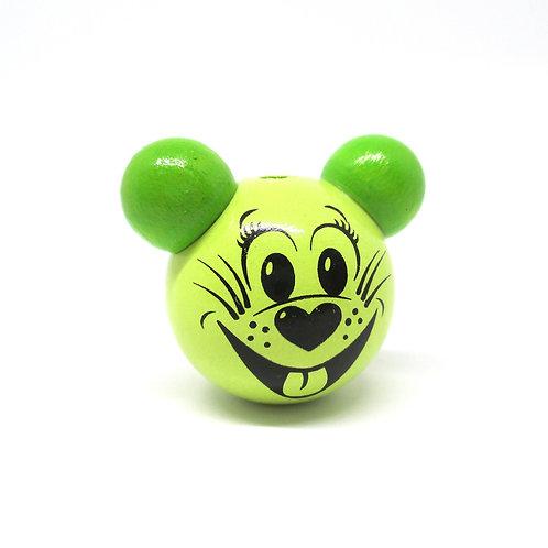 Perle en Bois 3D Tête de Souris Vert Anis et Vert Pomme