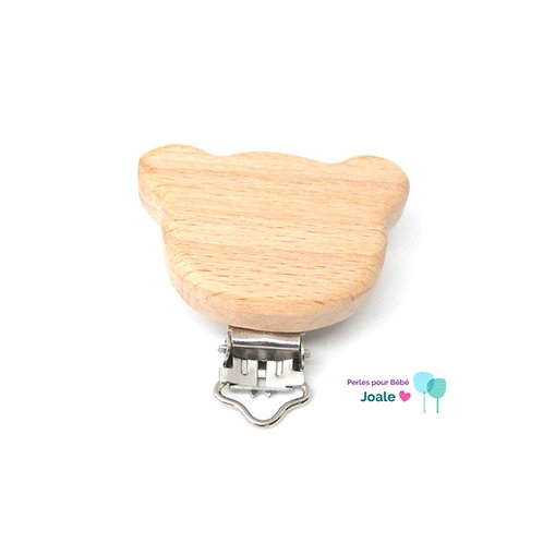 Clip Ourson en Bois Naturel Brut