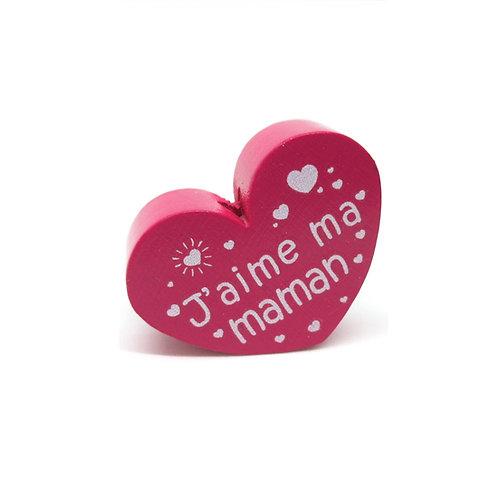 Perle en Bois Coeur J'aime ma Maman Fuchsia