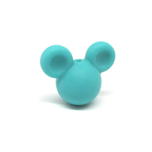 Perle Petit Mickey 3D Silicone Turquoise