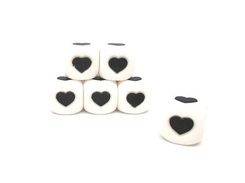 5 Perles Silicone Cube Coeur