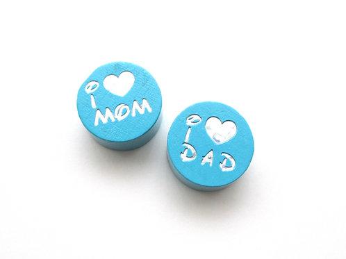 Perle en Bois I Love Mom-Dad Glitter Turquoise