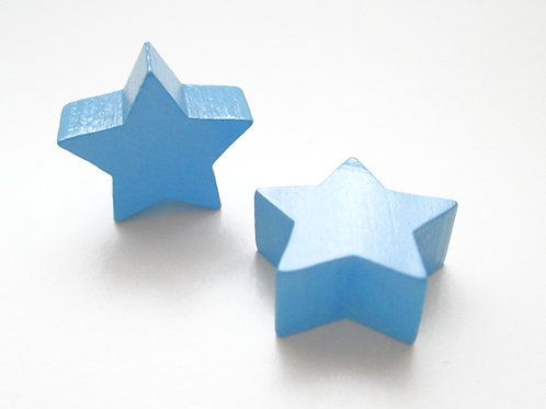 Perle en Bois Petite Etoile Bleu Ciel