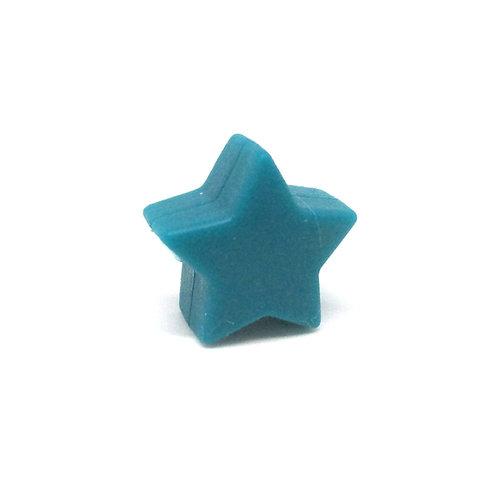 Perle Petite Etoile Silicone Bleu Canard