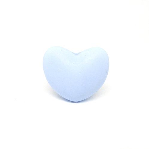 Perle Coeur Silicone Bleu Tendre