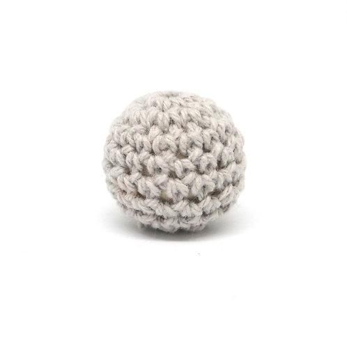 Perle en Bois et Crochet 20mm Gris