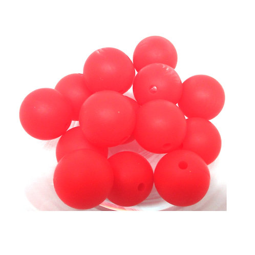 10 Perles Silicone 15mm Rouge