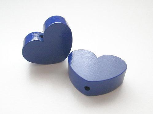 Perle en Bois Grand Coeur Bleu Marine