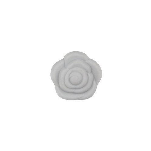 Perle Fleur Silicone Gris Clair