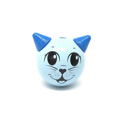 Perle Bois Chat 3D Bleu Tendre