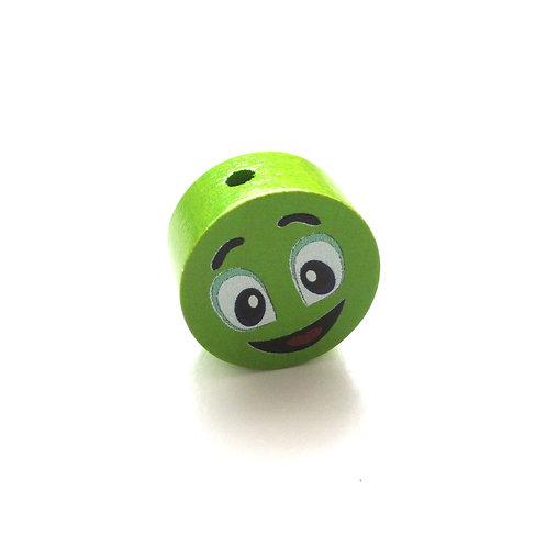Perle en Bois 20mm Smiley Vert Pomme
