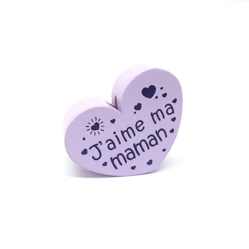 Perle en Bois Coeur J'aime ma Maman Mauve