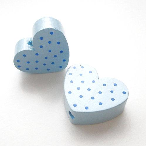 Perle en Bois Coeur à Pois Bleu Tendre