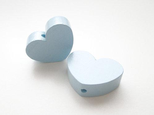 Perle en Bois Grand Coeur Bleu Tendre