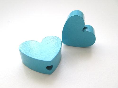 Perle en Bois Petit Coeur Turquoise