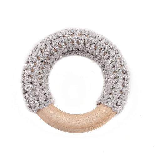 Anneau Crochet et Bois 50mm Gris