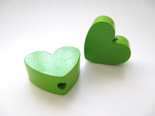 Perle en Bois Petit Coeur Vert Pomme