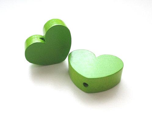 Perle en Bois Grand Coeur Vert Pomme