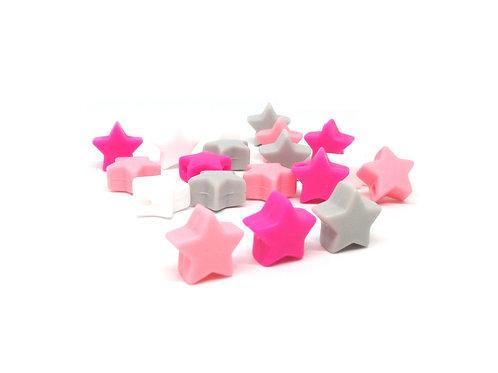 10 Perles Petite Etoile Silicone Blanc Rose Quartz Fuchsia Gris Clair