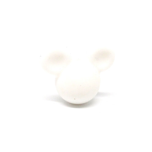 Perle Petit Mickey 3D Silicone Blanc