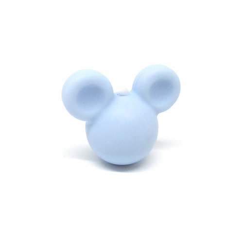Perle Petit Mickey 3D Silicone Bleu Tendre