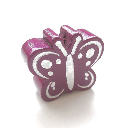 Perle en Bois Papillon Glitter Argent Prune