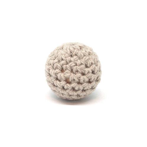 Perle en Bois et Crochet 20mm Beige