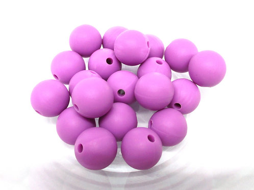 10 Perles Silicone 12mm Violet