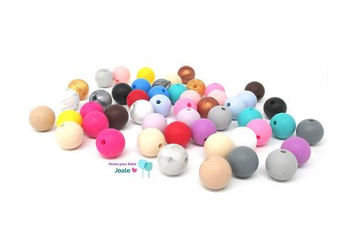 50 Perles Silicone 12mm Multicolore