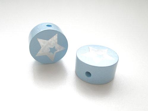 Perle en Bois 20mm Etoile Glitter Bleu Tendre