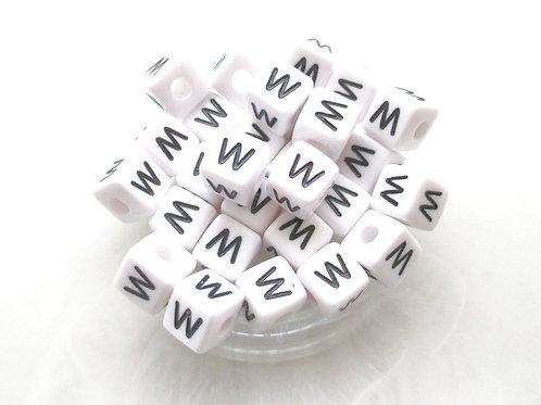 10 Perles Alphabet Acrylique - Lettre W