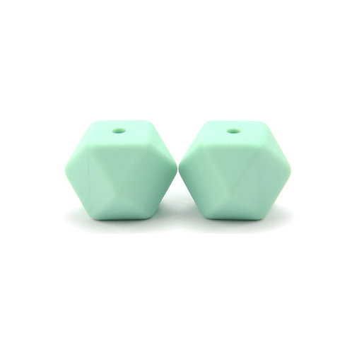 2 Perles Silicone Hexagonales 14mm Mint