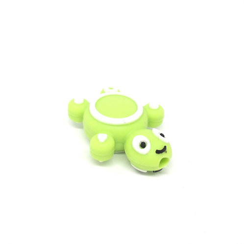 Perle Tortue Silicone Vert Anis