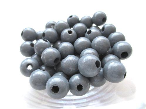 50 Perles en Bois 10mm Gris Foncé