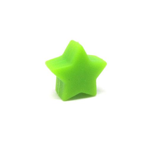 Perle Petite Etoile Silicone Vert Pomme